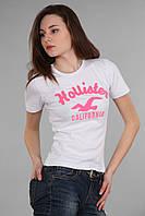 Женская футболка с коротким рукавом (реплика) Hollister белого цвета