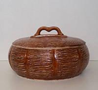 Жаровня глиняная с крышкой 2,5л (соломка) тыква низкая
