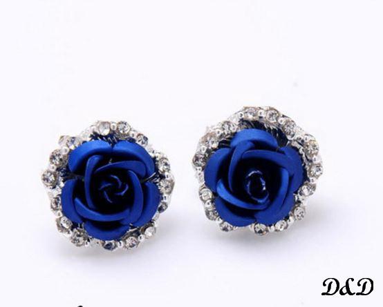 "Серьги ""Роза"" синие"
