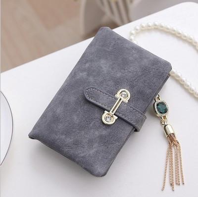 Женский кошелек из нубука CRYSTAL маленький с подвеской серый
