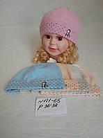 Детская трикотажная шапка для новорожденных Обезьянка р.36-38