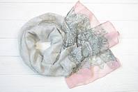 Шарф Лори узкий, 100% вискоза, 50х180 см, серый/розовый