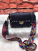 Женская сумка с текстильным ремнем