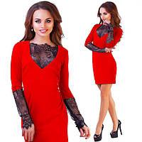Платье с гипюровыми вставками черное, красное