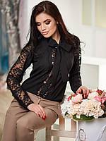 Красивая женская черная блузка с пришитым галстуком р.42,44,46
