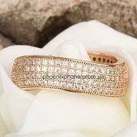 Богатое кольцо с множеством фианитов, покрытое золотом (132580)