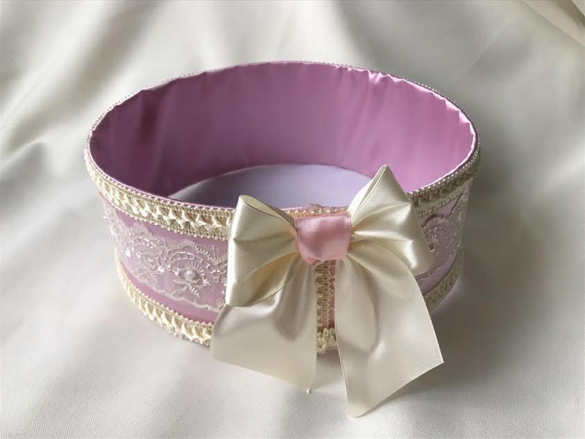 """Сито свадебное для зерна """"Бант нежно-розовый с кружевом"""""""