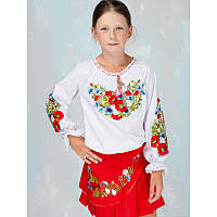 Юбка вышитая для девочки в украинском стиле МАКИ І ВОЛОШКИ красная