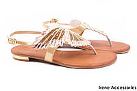 Элегантные босоножки женские Tucino натуральная кожа, цвет золото с камнями (каблук, комфорт, Турция)