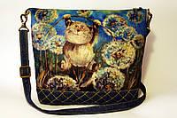 Женская джинсовая стеганная сумочка Хорошее настроение, фото 1
