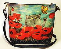 Женская джинсовая стеганная сумочка Кот в маках, фото 1