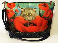 Женская джинсовая стеганная сумочка Кто там