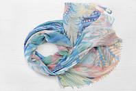 Легкий шарф Франческа из вискозы и хлопка, голубой