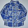 Голубая рубашка в клетку 104-110р