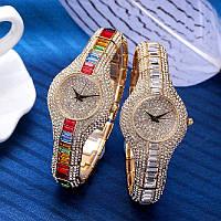 Акция! Часы женские с камням Swarovski Luxury colorful