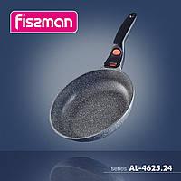 4625 Fissman Сковорідка для смаження 24x5,6 см LA GRANITE зі знімною ручкою і темп міткою (алюміній з ан