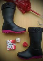 Резиновые сапоги Стиль утепленные черный+бордо