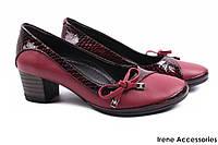 Стильные туфли женские Guero натуральная лаковая кожа + кожа (модельные, каблук, бордо, Турция)