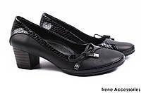 Стильные туфли женские Guero натуральная лаковая кожа + кожа (модельные, каблук, черный, Турция)