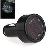 АВТОМОБИЛЬНЫЙ тестер вольтметр термометр в прикуриватель измеритель, фото 1