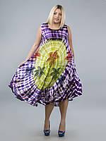 Сарафан-разлетайка на кокетке салатово-фиолетовый с пальмами, на 50-56 размеры