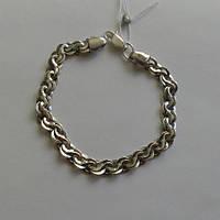 Браслет серебряный мужской, Ручеек, 210 мм, чернение