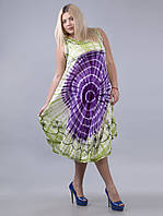 Сарафан-разлетайка на кокетке салатово-фиолетовый