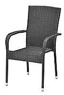 Садовый стул черный из искусственного ротанга