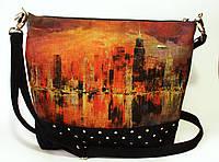Женская стеганная сумочка Ночной город