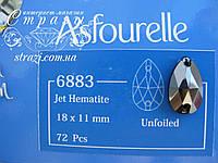 Стразы пришивные Asfour Капля 18мм. Jet Hematite