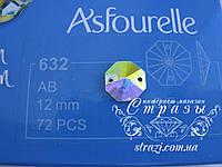 Стразы пришивные Asfour Октагон 12мм. Crystal AB