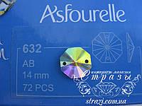 Стразы пришивные Asfour Октагон 14мм. Crystal AB
