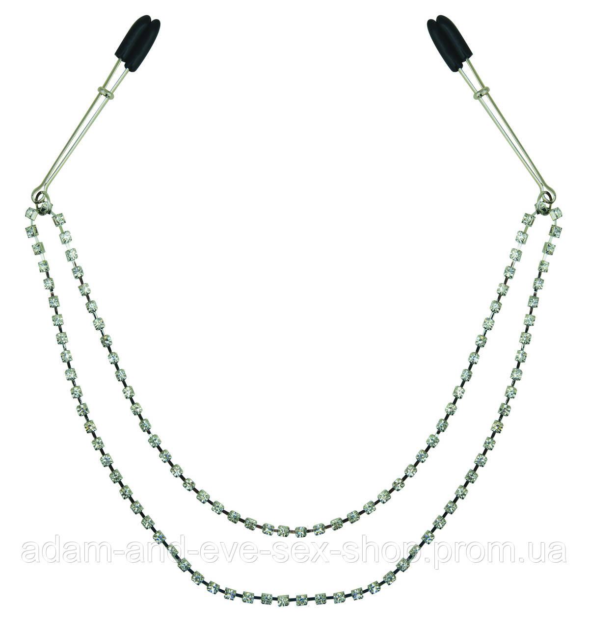 Зажимы для сосков с цепочкой украшение Sportsheets Midnight Black Jeweled Nipple Clips