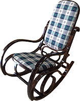 Кресло качалка темное ткань клетка