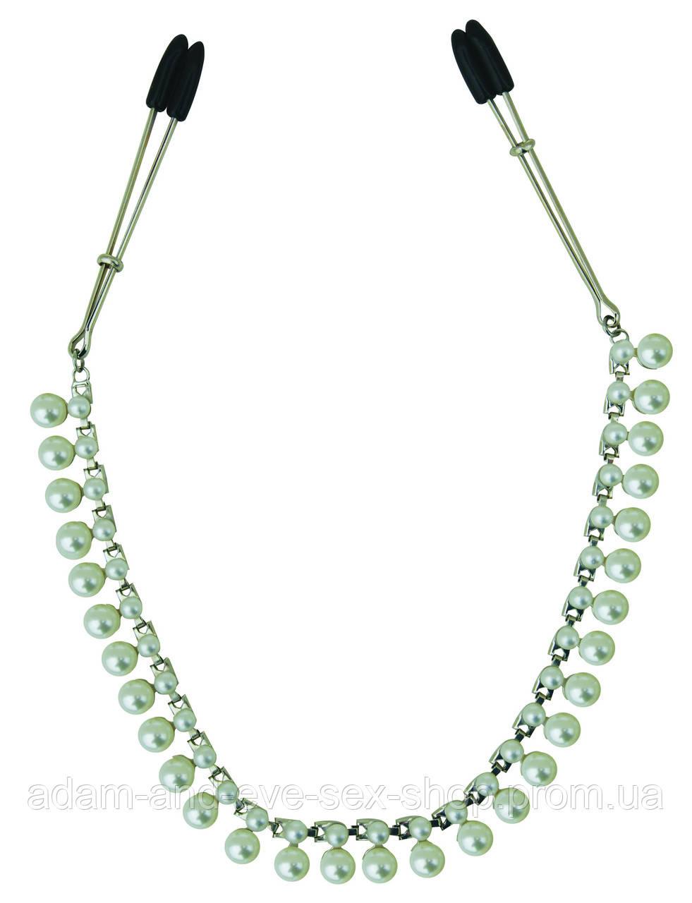 Зажимы для сосков с цепочкой украшение Sportsheets Midnight Pearl Chain Nipple