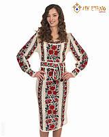 Вязаное платье Роза яркая, фото 1