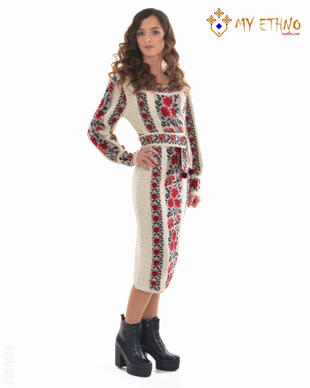 Вязаное платье Роза яркая
