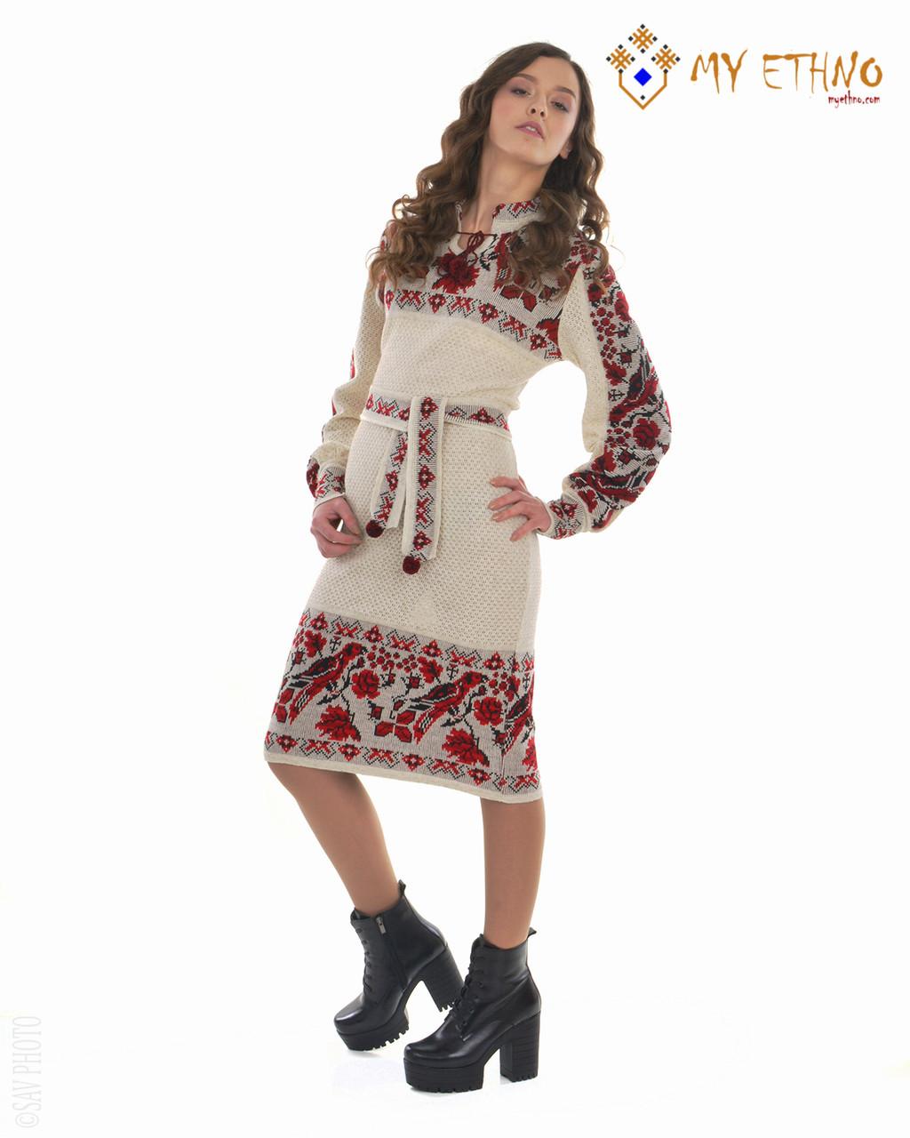 Вязаное платье Птичка с кокеткой