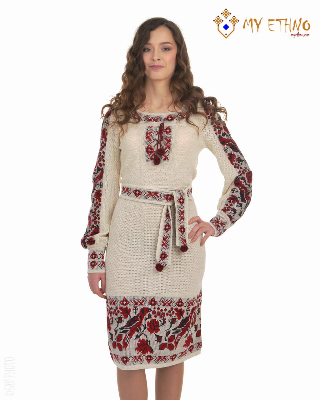 Вязаное платье Птичка с вставкой