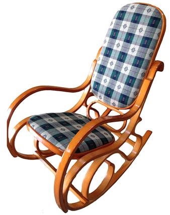 Кресло качалка ольха ткань клетка, фото 2