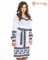 Белое вязаное платье Сокальский орнамент (х/б), фото 1