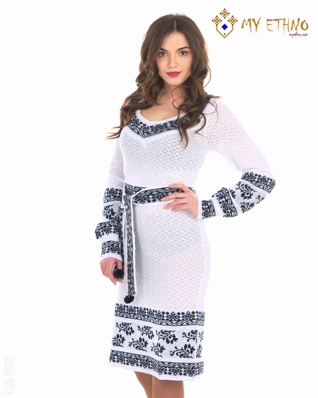Белое вязаное платье Сокальский орнамент (х/б)