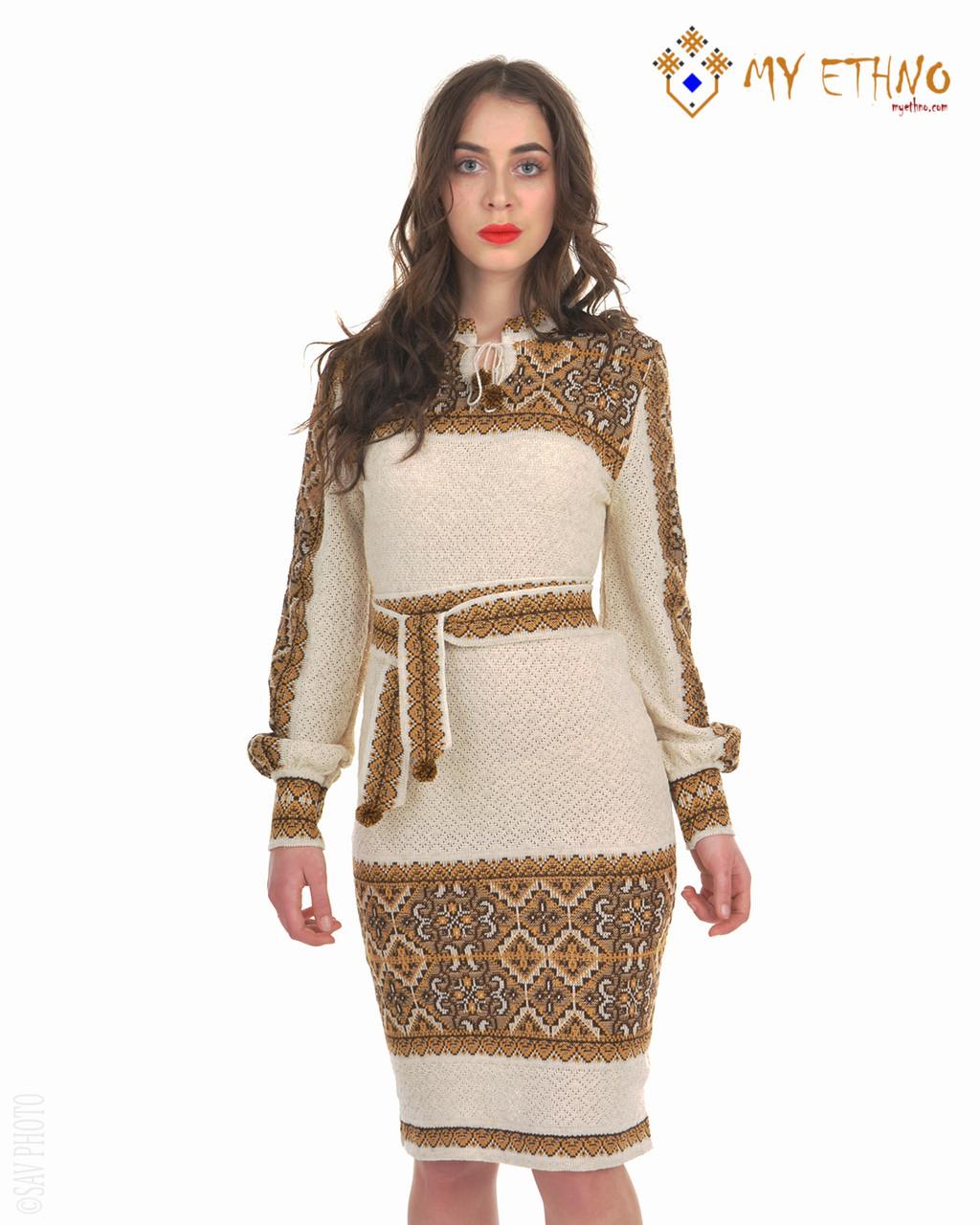Вязаное платье Влада коричневая с кокеткой