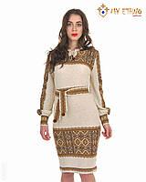 Вязаное платье Влада коричневая с кокеткой, фото 1