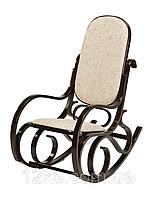 Кресло качалка темный орех ткань бежевая