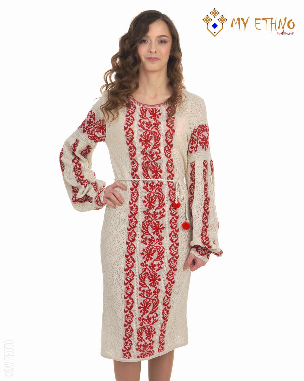 Вязаное платье Львовянка красная