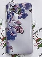 Чехол для Lenovo A606 (Орхидеи и бабочки)