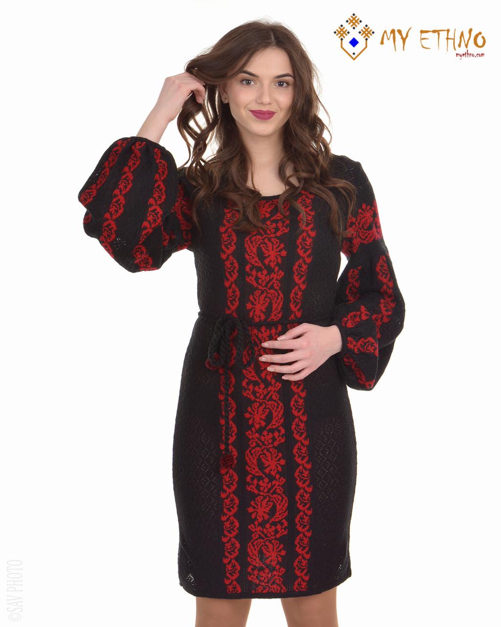 Вязаное платье Львовянка красная (черное х/б)
