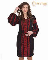 Вязаное платье Львовянка красная (черное х/б), фото 1