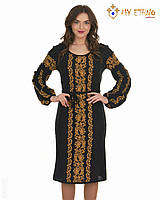 Вязаное платье Львовянка коричневая (черное х/б), фото 1